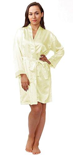Satin's Robe, Style#gwn11, Sizes (S, M, L, XL), Colors (Ivory, Aqua, Royal Blue) (Small, Ivory)