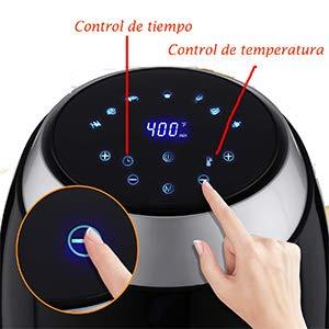 Freidora de Aire Caliente 6 Programas Predefinidos Con Pantalla LCD y Temporizador Ajustable Hopekings Freidora sin Aceite 6,5 L 1800W Negro