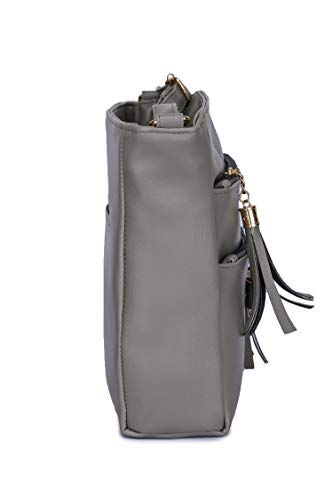 GLOSSY Urban Fad Girl's PU Sling Bag with 5 Zip Compartments (Khaki)