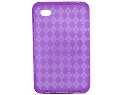 Protector Case Checkers (TPU Flexible Plastic Protector Case Purple Checkers for Samsung Galaxy Tab)