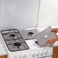 Gas Range Protectors; Non-Stick, Easy-Clean, Silver, Set of 4 By Cooks Innovations - smallkitchenideas.us
