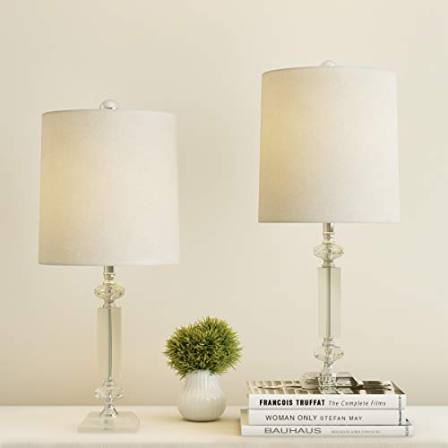Lavish Home Crystal Column Shades-Set of 2 Faceted Shiny Matching Table Lamps-Elegant, Modern Accent Lights-Home Décor