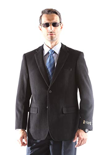 (Prontomoda Men's 2 Button Luxury Wool Cashmere Black Sport Coat 50R)