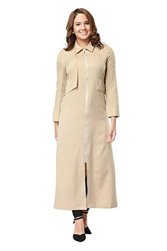 Women Modest Zipper Up Slim fit Long Sleeve Maxi Muslim Abaya Trench Coat Jacket Dress Overcoat (L, Beige) by Hrokk