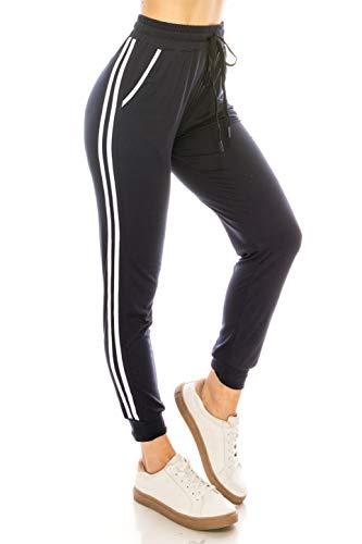 (ALWAYS Women Joggers Lounge Sweatpants - Super Light Soft Solid Pockets Drawstrings Line Striped Pants Navy White S/M)