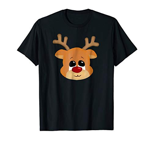 Cute funny christmas reindeer with puppy eyes t-shirt