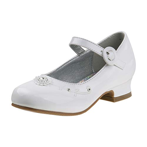 Josmo Girls Dressy Patent Low Heel Shoe with Decrotive Flower, White Patent, 3 M US Big Kid'