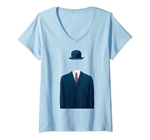 Womens Man In a Bowler Hat, Rene Magritte Artwork V-Neck T-Shirt