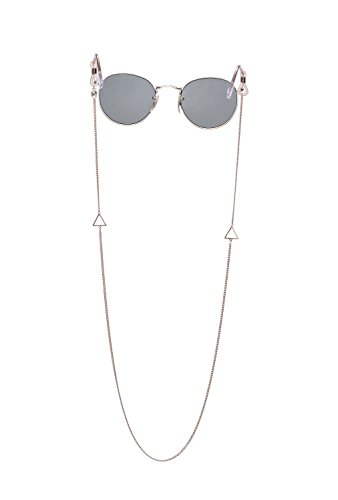 Sintillia Bermuda Chain Statement Sunglass Strap, Glasses Chain, Eyeglass Cord, Gold (Silver Chain with Clear - Cute Croakies