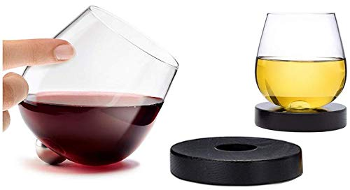 (Aura Glass 14oz Stemless Aerating Wine Glasses (Set of 2) - No Spill Spinning Glass Tumblers for Red or White Wines - Includes 2 Wood Oak Coasters, Made in USA - Also Use for Scotch, Whiskey, Bourbon )