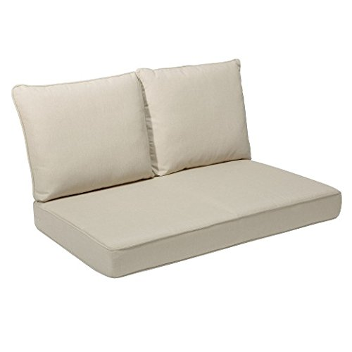 Cushions Beige (Quality Outdoor Living All Weather Deep Seating Patio Loveseat Seat and Back Cushion Set, 46-Inch by 26-Inch, Beige)