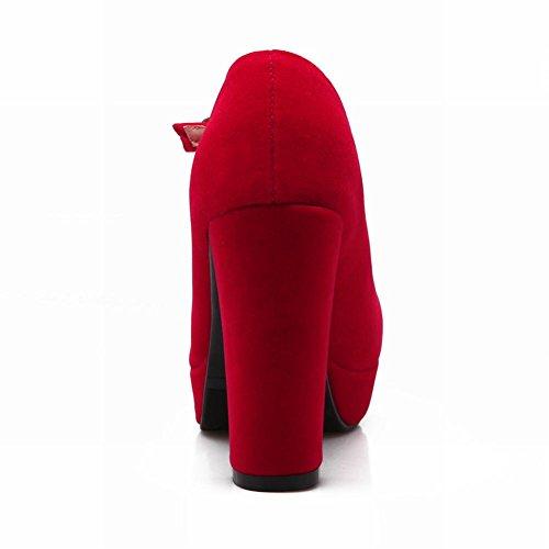 Carol Shoes Women's Fashion Elegant High Heel Bows T-strap Court Shoes Red bW8l328w