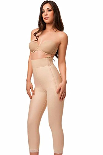 Isavela GR05 High Waist Abdominal Girdle with Zippers-3XL-Beige (Girdle Panty Zipper)