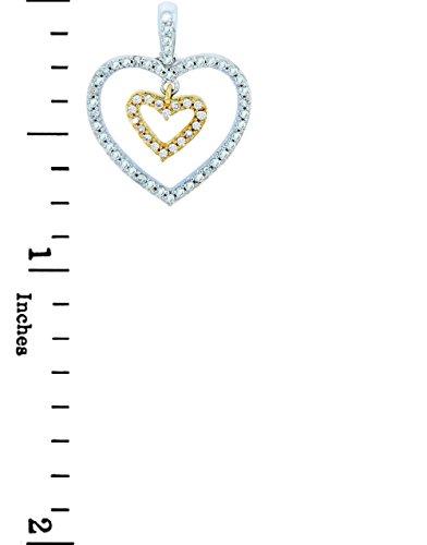 10 ct 471/1000 Or - La Or Double-Coeur- En Deux Ton Avec feinen Diamants Pendentif