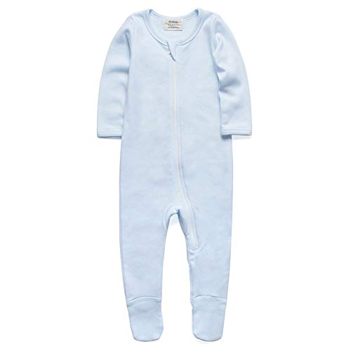 O3 Baby Boys Girls Organic Cotton Zip Front Sleeper Pajamas, Footed Sleep 'n Play (0-3Months,Blue)