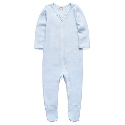 O2Baby Baby Boys Girls Organic Cotton Zip Front Sleeper Pajamas, Footed Sleep 'n Play (12-18Months,Blue