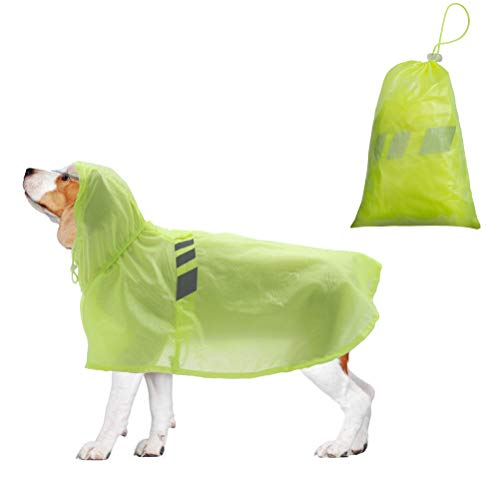 BINGPET Dog Raincoat for Medium Dogs - Waterproof Pet Rain Jacket with Hood - Reflective/Lightweight Rain Poncho Yellow]()