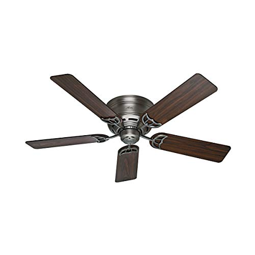 Hunter Indoor Low Profile III Ceiling Fan, with pull chain control -  52 inch, Antique Pewter, - Antique Fan Ceiling