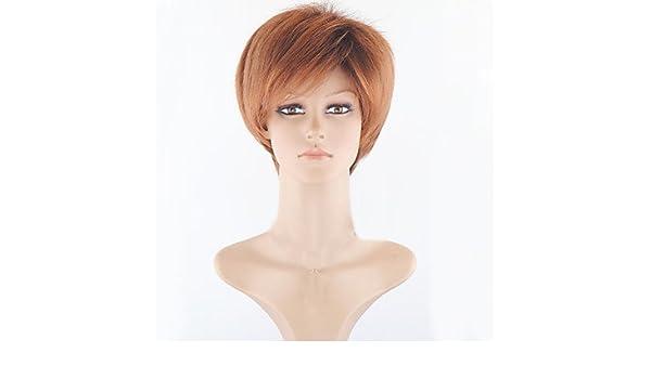 GSP-peluca sintética de color marrón claro para las mujeres pelucas baratas pelucas cortas de las mujeres naturales para el cabello corto y , brown: ...