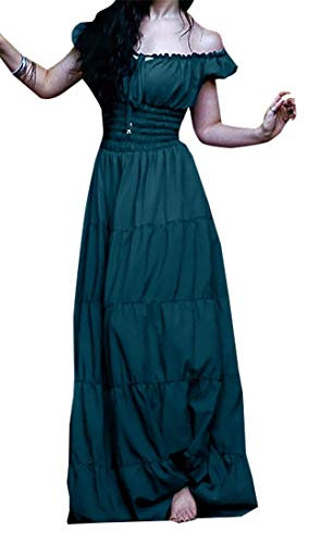 Alion Women's Renaissance Costume Pirate Peasant Wench Medieval Dress Green M