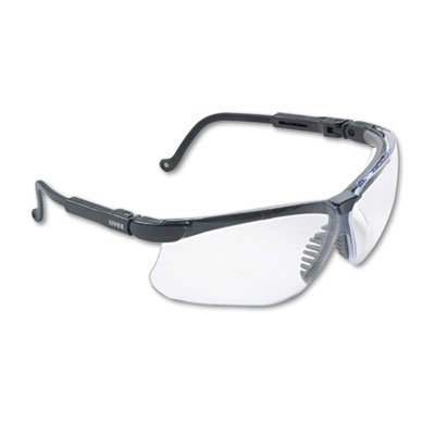 afety Glasses, Black Plastic Frame, Clear Lens, Sold as 1 Each (Clear Ud Lens)