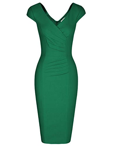 MUXXN Womens Sexy Double V Neck Cap Sleeve Pleated Waist Evening Party Dresses (Green M)