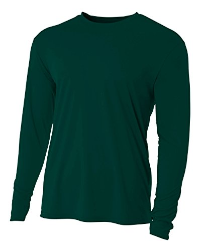 A4 Men's Cooling Performance Crew Long Sleeve T-Shirt, Forest, (Dri Fit Long Sleeve Tee)