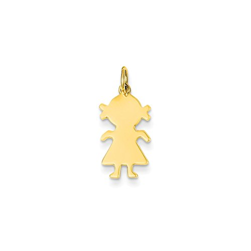 Engravable Gold Pendants - ICE CARATS 14kt Yellow Gold Girl Pendant Charm Necklace Engravable Disc Front Facing Plain Fine Jewelry Ideal Gifts For Women Gift Set From Heart