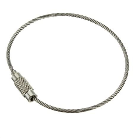 2pcs alambre de acero inoxidable llavero Cable llavero giro ...