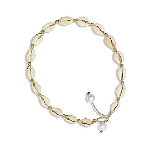 HIIXHC Single Pearl Choker Necklace on Genuine Leather Cord for Women Handmade Choker Jewelry Gift (Brown-Shell)
