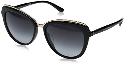 Dolce & Gabbana Women's Acetate Woman Cateye Sunglasses, Black, 57.0 mm by Dolce & Gabbana