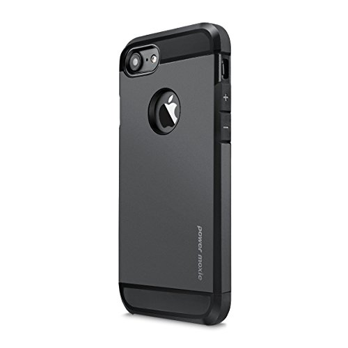 iPhone 6 Case, PowerMoxie with [Tempered Glass Screen Protector] Impact Resistant [MILITARY TOUGH] Protective Shell Shockproof Rubber Bumper Case Hard Cover iPhone 6s - Black (Black)