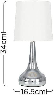 MiniSun - Set de 2 Lámparas modernas de mesa táctiles - Cromadas y pantallas de tela color crema- Forma de gota - Iluminación interior - Mesilla de ...