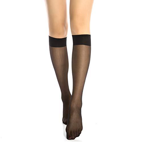 MANZI 12 Pairs Lady's Sheer Knee High Stockings (12 Pairs Black)