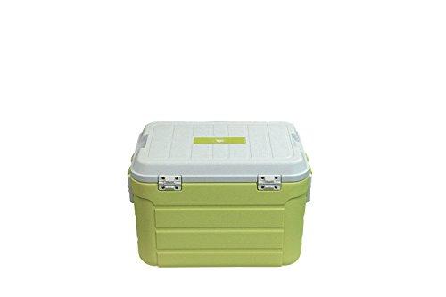 10T Fridgo 30L passive Kühlbox Kühlbehälter 52x36x33cm PU Thermobox mit Sicherheits Verschluß Tragegriffen Boden Abfluss warm/kalt Isolierbox inkl. Kühlakku