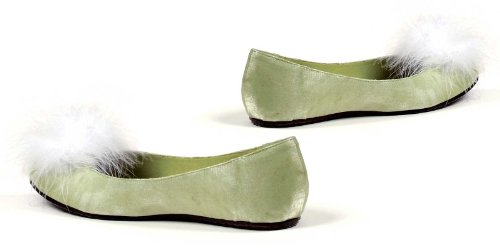 Fairy Shoes (Ellie Shoes E-016-Tinker Flat Satin Pump. Green 8)
