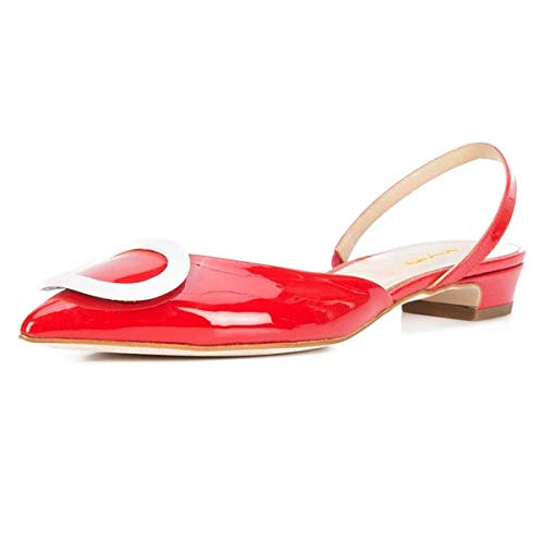 XYD Women Casual Pointed Toe Slingback Flats Slip On Low Heel Patent Buckled Office Dress Sandal Pumps Size 10 Red