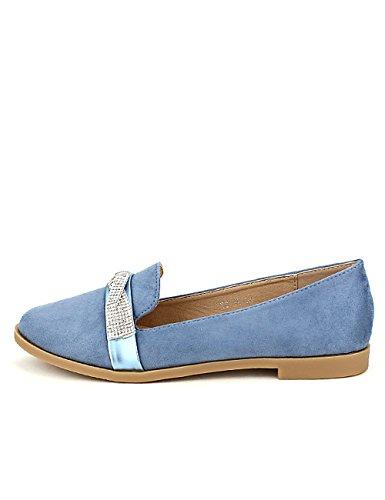 Strass Chaussures Bleu Bleue Cendriyon Derbies Sixth Sens Simili Femme BnXqz