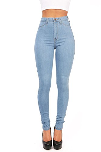 Eastlife Womens High Wasit Jeans Classic Skinny Straight Leg Denim Casual Pants