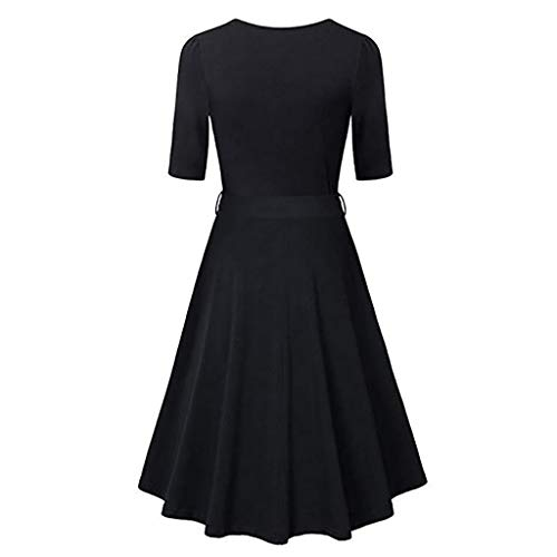 TnaIolral Womens Vintage Flared A-Line Dress with Belt Floral Cross V- Neck Dresses