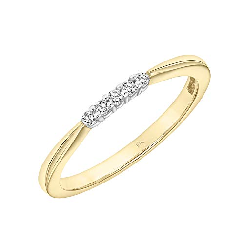 (Brilliant Expressions 10K Yellow Gold 0.05 Cttw Conflict Free Diamond Accented Wedding or Anniversary Band (I-J Color, I2-I3 Clarity), Size 7)