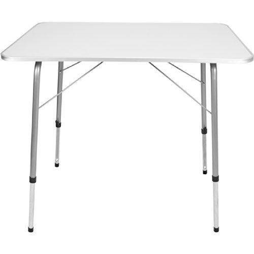 Campingtisch Gartentisch Klapptisch aus Metall mit MDF Tischplatte 80 x 60 cm Höhenverstellbar