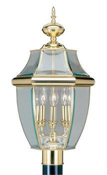 Livex Lighting 2354-02 Monterey 3 Light Outdoor Polished Brass Finish Solid Brass Post Head with Clear Beveled Glass by Livex Lighting