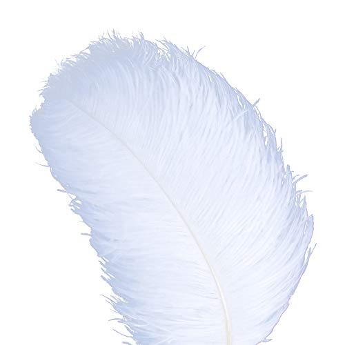 AWAYTR Natural 20-22 inch(50-55cm) Ostrich Feathers Plume for Wedding Centerpieces Home Decoration White-10Pcs