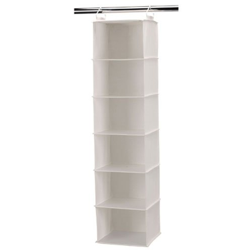 Household Essentials 6-Shelf Hanging Closet Organizer with Plastic Shelves for Adults and Kids - Beige / Off-White Canvas (Linen Closet Shelving Systems)