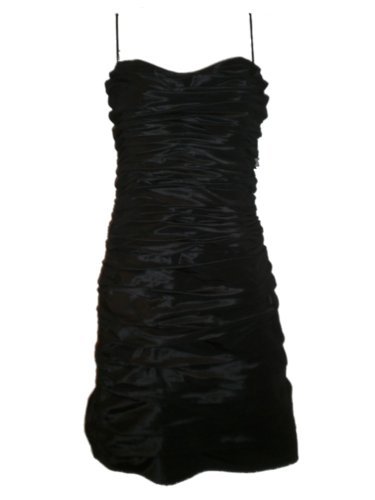 Teri Jon Rickie Freeman Womens Dress Crinkle 14 Black Taffeta