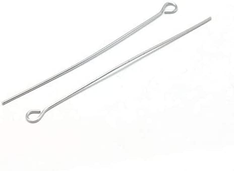 FINDINGS 100 x 50mm Fine Silver Plated Eye Pins