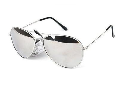 bb63ea9051 Lunettes de soleil Aviateur - Pilote - Fbi - Monture argent - Verre effet  miroir - Fashion tendance: Amazon.fr: Sports et Loisirs