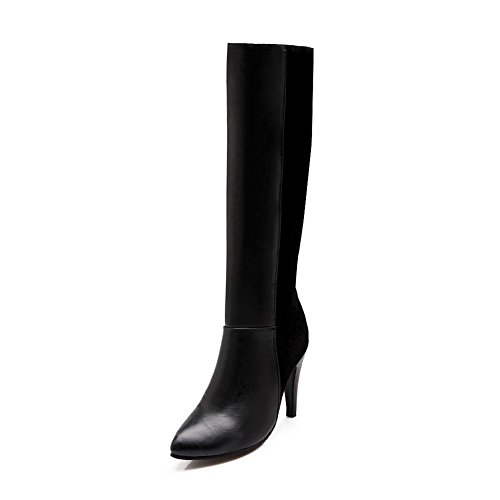 BalaMasa Ladies Winkle Pinker Color Matching Thick Bottom Heel Imitated Leather Boots Black BgA16ht