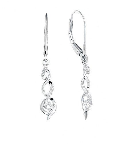 (JO WISDOM 10K White Gold Diamond Moissanite Infinity Leverback Dangling Drop Earrings)